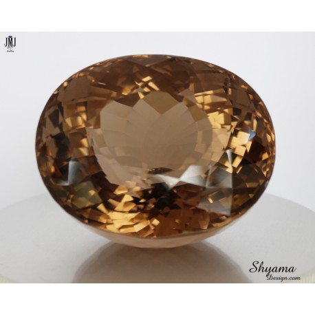 10150 Natural Faceted Vivid Yellowish Brown Smoky Quartz Fancy Oval shape