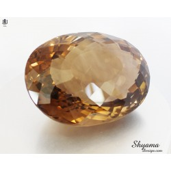 10151 Natural Faceted Vivid Yellowish Brown Smoky Quartz  Fixed Oval shape