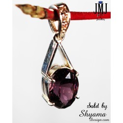 Handmade Natural Purple Zircon Gemstone Pendent made with 925 Sterling Silver and American Diamond