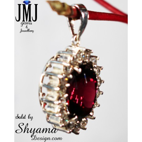 Handmade Natural Spinel Gemstone Pendent made with 925 Sterling Silver and American Diamond