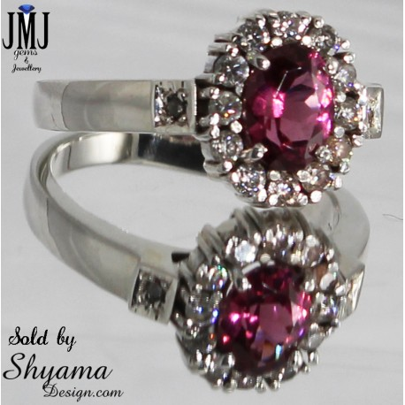 Handmade natural Rose Garnet ring made with 925 Sterling Silver and  Diamond