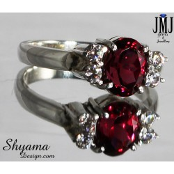 Handmade ring made with Natural Garnet Gemstone with American diamond and Sterling silver