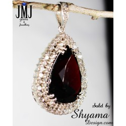 Handmade pendent 34.4ct. Garnet Gemstone made with 925 Sterling silver & Diamond