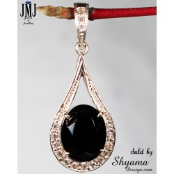 Handmade pendent made natural Zircon Gemstone & 925 Sterling silver with American Diamond