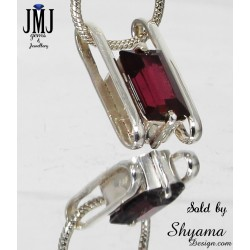 Handmade Natural Garnet Gemstone Pendent made with 925 Sterling Silver