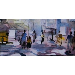 street watercolor on artist paper painting