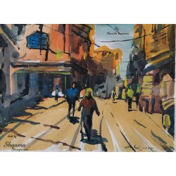 Old Street in 12 clock watercolor on paper Painting